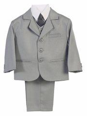 Boys' Light Gray 3 Button 5 Piece Suit