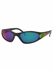 Boys Plastic Green Fire Flame Color Mirror Lens Sunglasses
