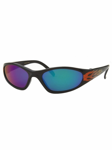 Boys Plastic Red Fire Flame Color Mirror Lens Sunglasses