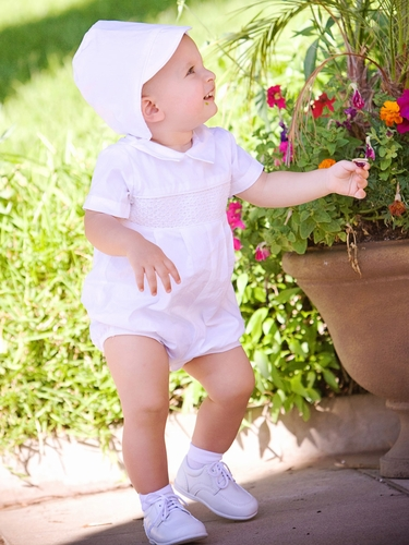 Boys Smocked Cotton Christening Romper