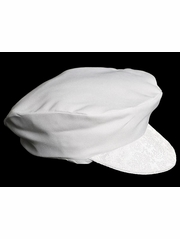 Boys Special Occasion White Cabbie Hat w/ Paisley Trim