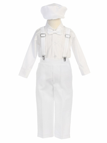 Boys' White Longsleeve Suspender Pant Set w/ Hat