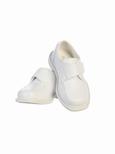 Boys White Matte Shoes w/ Velcro Strap