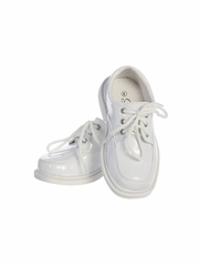 Boys White Patent Lace-Up Shoes