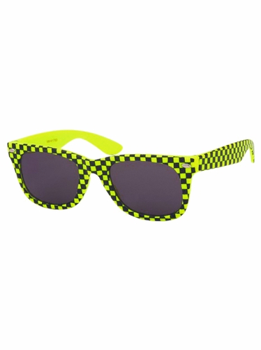 Boys Yellow Plastic Neon Checkered Temple Sunglasses