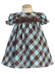 Brown/Blue Cotton Gingham Checked Baby Dress