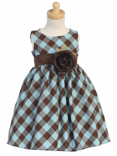 Brown/Blue Cotton Gingham Checked Dress