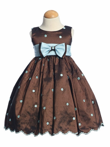 Brown/Blue Flower Girl Dress - Embroidered Polka-Dot Dress