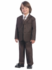 Boys' Brown 5 Piece Suit