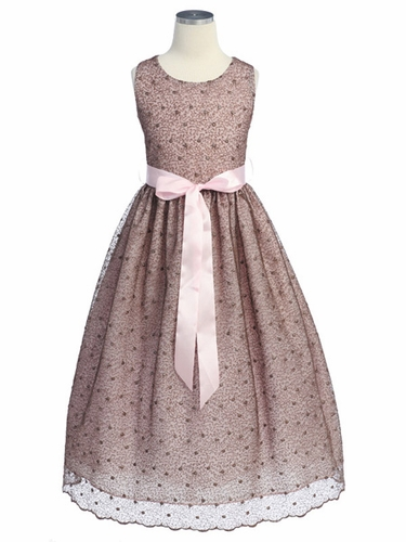 Brown Flower Girl Dress - Metalic Embroidered Mesh Dress