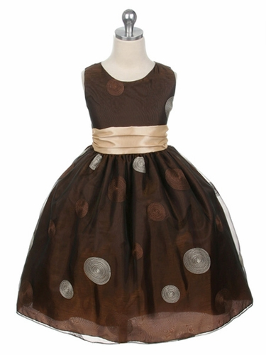 Brown Flower Girl Dress - Polka Dot Embroidered Organza Dress