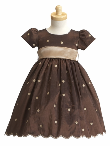 Brown Flower Girl Dress - Taffeta Polka Dot Dress