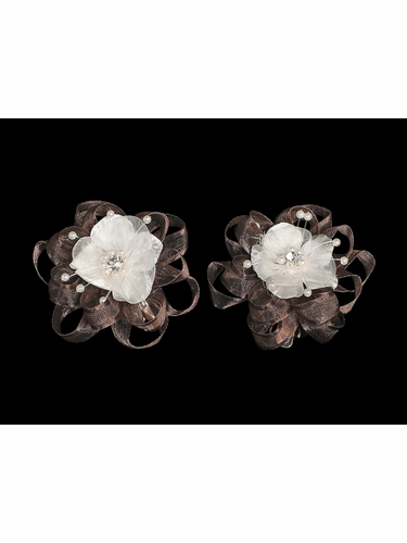 Brown Organza Flower Hair Clip w/ Stone