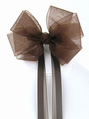 Brown Organza Hair Clip w/ Ribbon