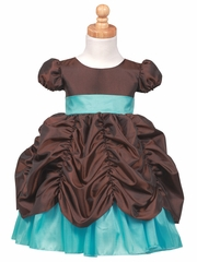 Brown/Turquoise Princess Taffeta Dress