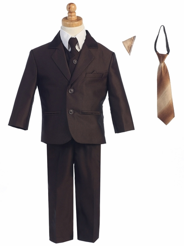 Brown Two-Button Herringbone Pattern Suit