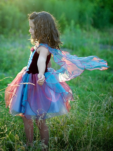 Burgundy Fairy Blossom Dress w/ Wings