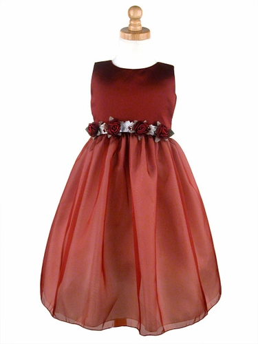 Burgundy Flower Girl Dress - Matte Satin Organza Dress