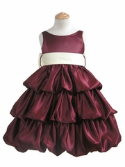 Burgundy Layered Satin Bubble Dress w/ Off-White Sash
