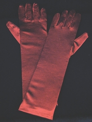 Burgundy Long Satin Gloves