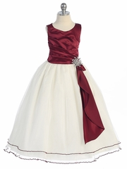 Burgundy Pleated Bodice w/ Double Layer Skirt Dress