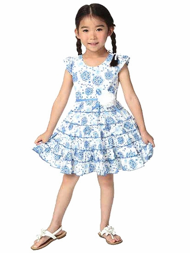 Candy Bean Indigo Blues Woven Twirly Dress