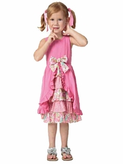 Candy Bean Spring Bloom Bright Pink Tank Ruffle Dress