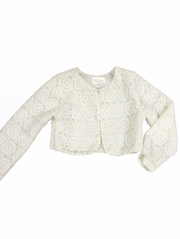 Capes and Jackets - Ivory Swirl Lace Pearl Button Bolero Jacket