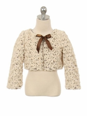 Champagne & Brown Two Tone Cuddle Fur Bolero