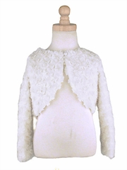Capes and Jackets - Ivory Faux Fur Rosette Bolero