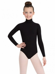 Capezio Black Long Sleeve Turtleneck Leotard w/ Snaps