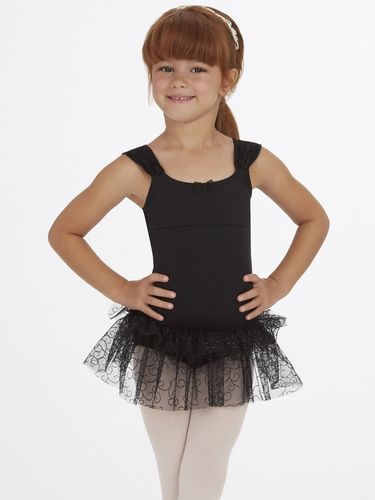 Capezio Child Black Ruched Strap Dress