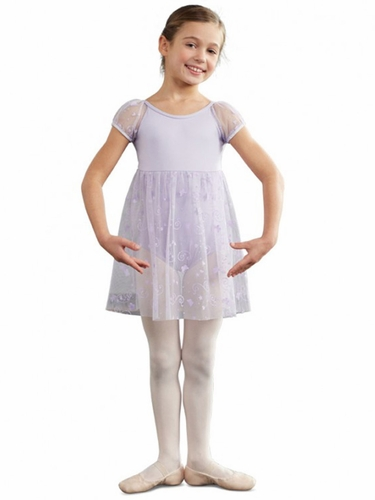 Capezio Lavender Butterfly Empire Puff Sleeve Dress