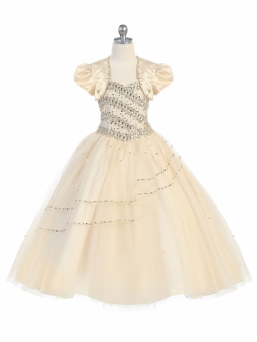 Champagne Beaded Ball Gown w/ Bolero