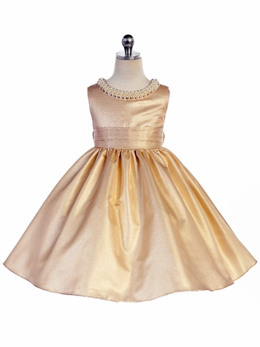 Champagne Beaded Neckline Fit & Flare Dress
