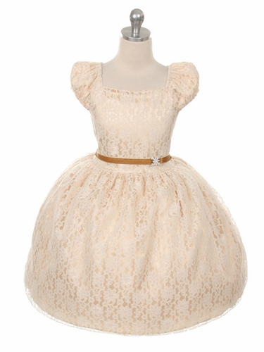 Champagne Cap Sleeve Lace Flower Girl Dress