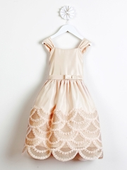 Champagne Dress w/ Rosette & Cord Embroidered Scallop Skirt