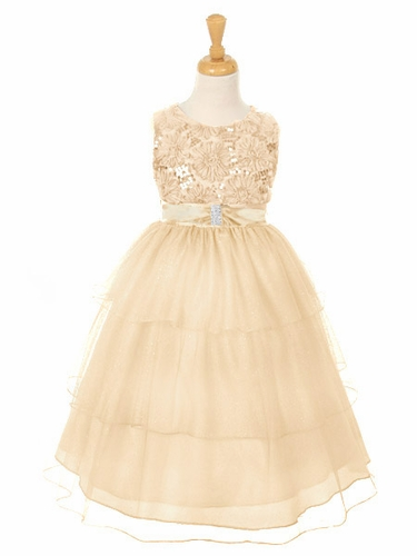 Champagne Embroidered Mesh Flower & Sequins Bodice Dress w/ Layered Sparkle Mesh Skirt