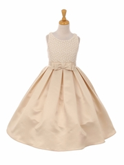 Champagne Floral Embroidery Dull Satin Dress