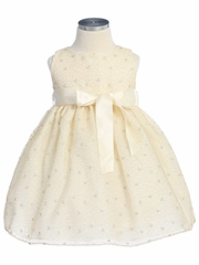 Champagne Flower Girl Dress - Metalic Embroidered Mesh Dress