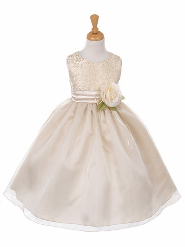 Champagne Jacquard Bodice Dress w/ Organza Skirt