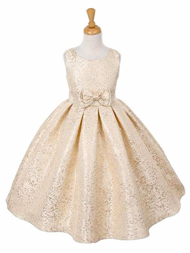 Champagne Jacquard Dress w/ Bow
