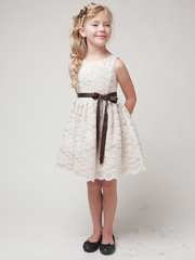 Champagne Lace Dress w/ Sash
