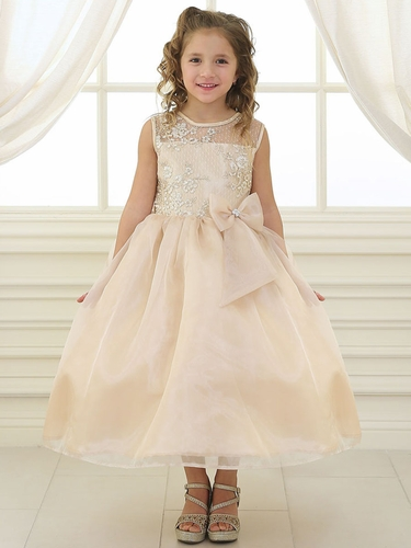 Champagne Lace Flower Bodice Dress w/ Ribbon
