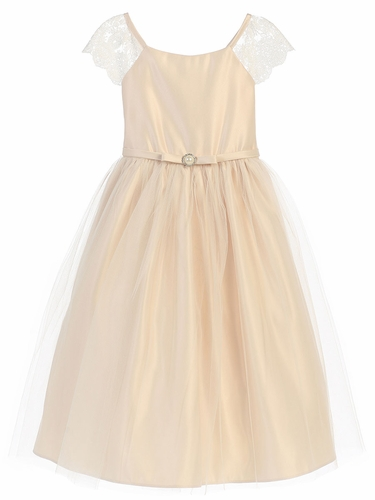 Champagne Lace Sleeve Satin Dress w/ Pearl Broach
