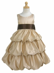Champagne Layered Satin Bubble Dress w/ Brown Sash