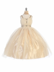 Champagne Mesh Pageant Dress w/ Beaded Waistband