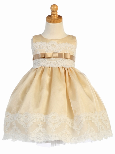 Champagne Organza w/ Embroidered Tulle Lace Trims Dress