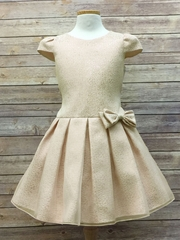Champagne Pleated Above-the-Knee Dress w/ Bow