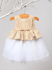 Champagne Pleated Satin & Tulle Dress